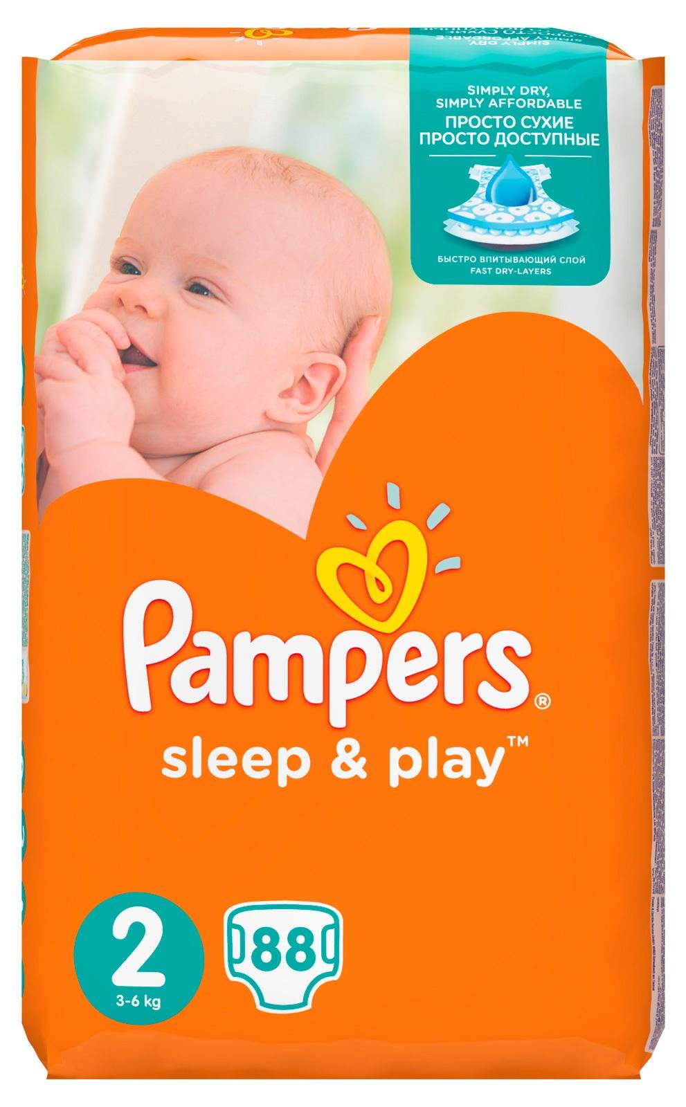 Купить Подгузники Pampers Sleep   Play 2 Mini 3-6кг 88шт с ... 9bc88946a07