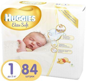 Купить Подгузники Huggies Elite Soft 1 до 5кг 84шт с бесплатной ... af9ce478b2f